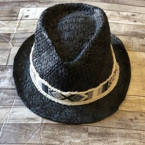 Billabong black straw fedora hat